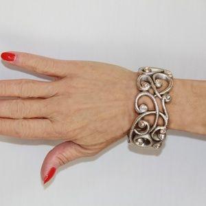 Brighton Silver Scroll Swarovski Crystal Bracelet